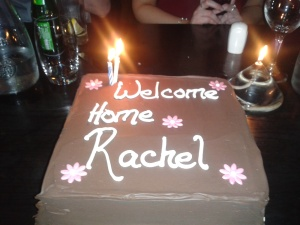 Surprise welcome home cake from Chris and Sibh